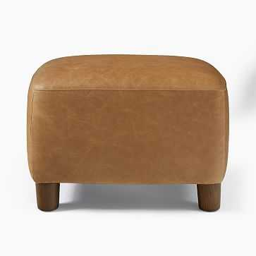 Teddy Ottoman, Poly, Leather, Old Saddle, Dark Walnut - West Elm