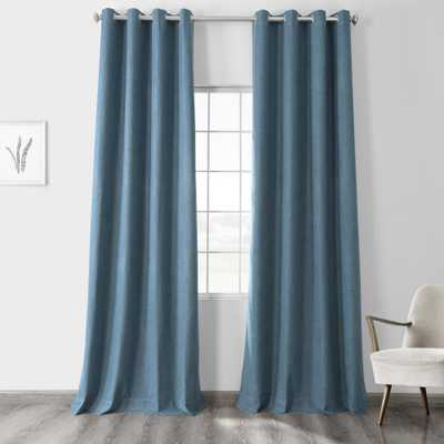 Exclusive Fabrics & Furnishings Ovation Blue Vintage Thermal Cross Linen Weave Max Blackout Grommet Curtain - 50 in. W x 120 in. L (1 Panel) - Home Depot