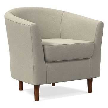 Mila Chair, Poly, Performance Velvet, Stone, Auburn - West Elm