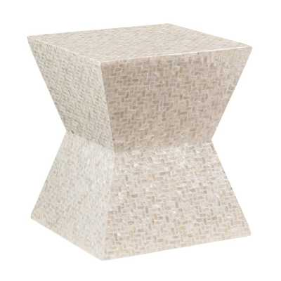 Linon Home Decor Kyra Ivory Capiz Mosaic Accent Table - Home Depot