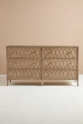 Textured Trellis Six-Drawer Dresser By Anthropologie in Grey - Anthropologie