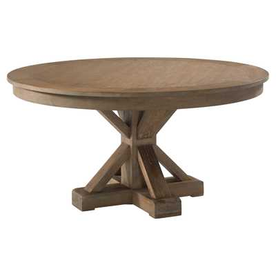Plank & Hide Gage Rustic Round Brown Wood with Four Drawers Game Table - Kathy Kuo Home