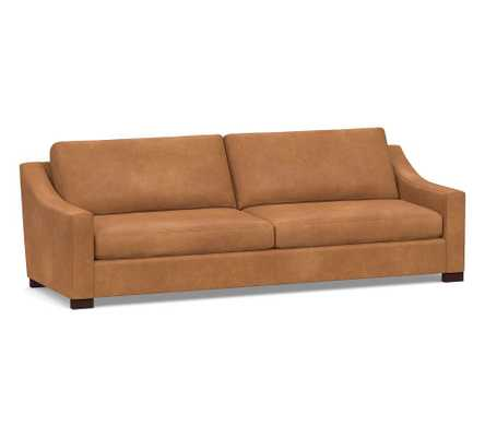"Turner Slope Arm Leather Grand Sofa 104.5"", Down Blend Wrapped Cushions, Churchfield Camel - Pottery Barn"
