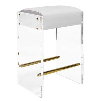 "Worlds Away Acrylic Panel 26"" Bar Stool Color: Brass, Upholstery: White - Perigold"