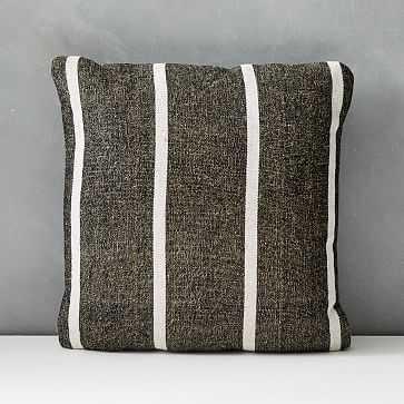 "Outdoor Simple Stripe Pillow, Set of 2, Black, 20""x20"" - West Elm"