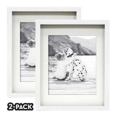 NONE Classic Gallery Double Pack White Frame 11 in. x 14 in. Mat to 2-5 in. x 7 in. - Home Depot