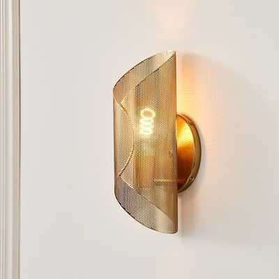 Curl Perforated Sconce, Antique Brass S/2 - West Elm