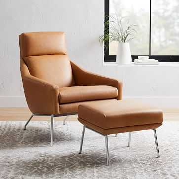 Austin Stationary Chair, Leather, Sesame,  dark pewter legs - West Elm