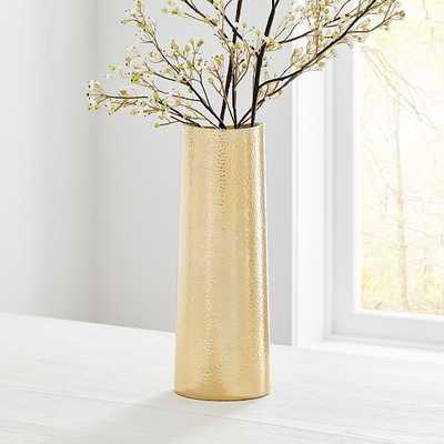 Hammered Metal Tapered Vase, Brass - West Elm