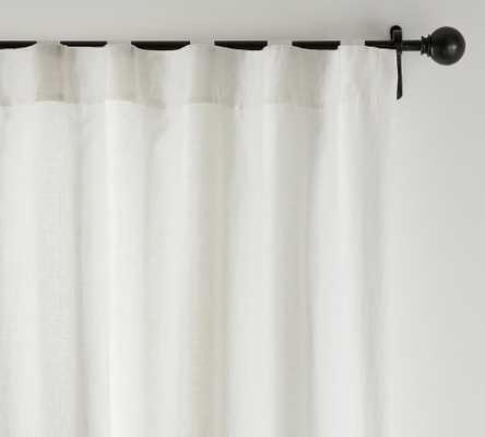 "Custom Classic Belgian Flax Linen Curtain, 132 x 96"", Classic Ivory - Pottery Barn"