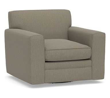 Pearce Square Arm Upholstered Swivel Armchair, Tight Back Down Blend Wrapped Cushions, Chenille Basketweave Taupe - Pottery Barn