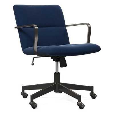 Cooper Mid-Century Office Chair, Antique Bronze, Performance Velvet, Ink Blue - West Elm
