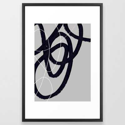 Abstract Brush Strokes 33 Framed Art Print by Mareike BaPhmer - Vector Black - LARGE (Gallery)-26x38 - Society6