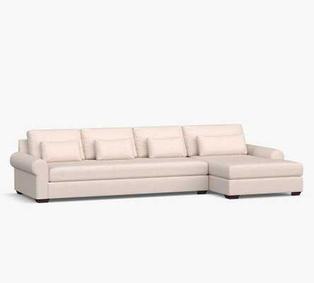 Big Sur Roll Arm Upholstered Deep Seat Left Arm Grand Sofa with Double Chaise Sectional and Bench Cushion, Down Blend Wrapped Cushions, Performance Heathered Tweed Graphite - Pottery Barn