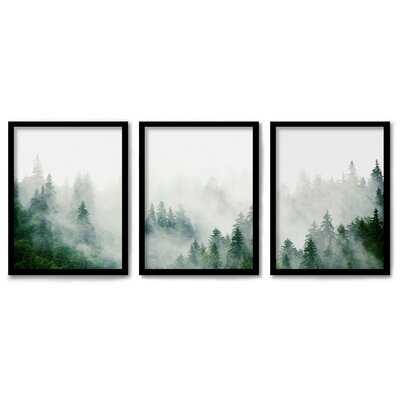 Americanflat 3 Piece Framed Triptych Green Mountain Mist By Tanya Shumkina - Wayfair