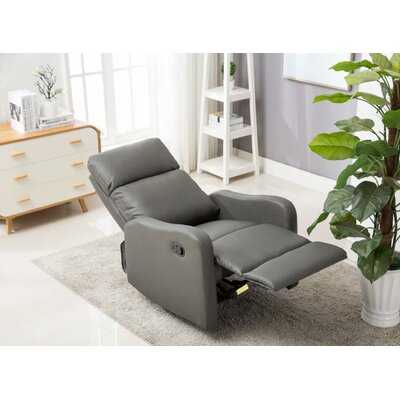 Living Room Recliner Manual Reclining Upholstered Seat PU Leather Single Sofa Home Theater Seat (Gray) - Wayfair