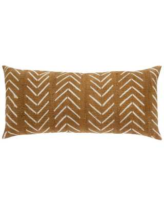 birdseye mud cloth extra large lumbar pillow in tan - PillowPia
