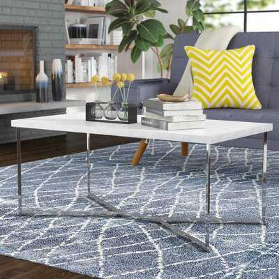 Foundstone Devito Cross Legs Coffee Table in Marble & Chrome - Wayfair