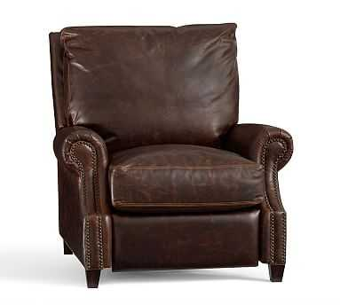 James Roll Arm Leather Recliner, Down Blend Wrapped Cushions, Vegan Java - Pottery Barn