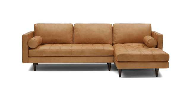 Brown Briar Mid Century Modern Leather Sectional - Santiago Camel - Mocha - Left - Joybird