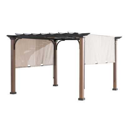 Sunjoy 9 ft. x 9 ft. Square Steel Mason Pergola with Adjustable Beige Cover, Blacks - Home Depot