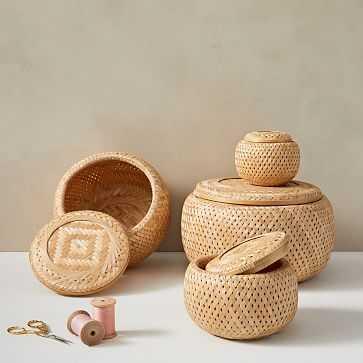 Nesting Lidded Baskets, Set Of 4, Natural - West Elm