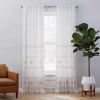 """European Flax Linen Ladder Stripe Curtain, White + Dark Horseradish, 48""""x84"""" - West Elm"""