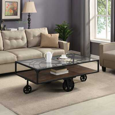 Beil Wheel Coffee Table with Storage - Wayfair