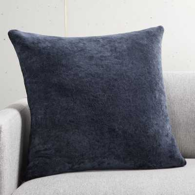 "20"" Strauss Navy Pillow with Down-Alternative Insert - CB2"