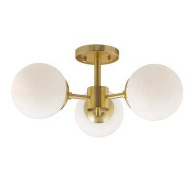 3-Light Soft Gold Semi Flush Mount With Satin Opal Glass - Wayfair