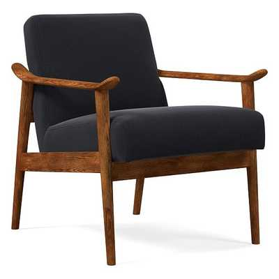 Midcentury Show Wood Chair, Poly, Performance Velvet, Shadow, Pecan-Individual - West Elm