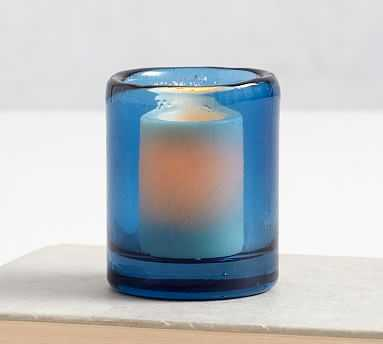 Formentera Glass Votive Holder, Blue, Small - Pottery Barn