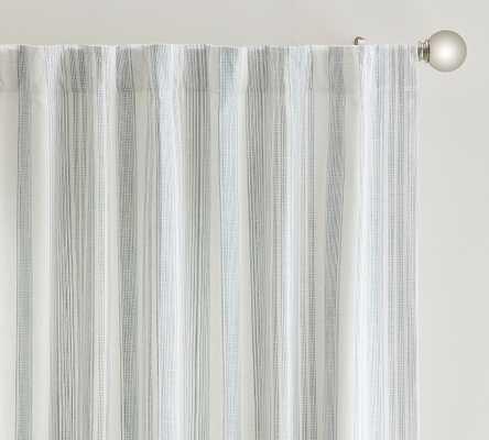 "Hawthorn Striped Cotton Rod Pocket Curtain, 50 x 84"", Blue - Pottery Barn"