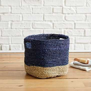 Two Tone Woven Basket, Storage Basket, Natural + Midnight - West Elm