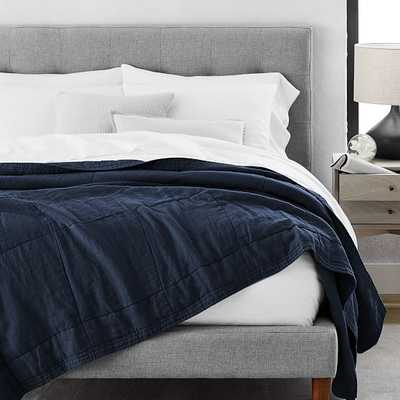 Belgian Linen Blanket, Full/Queen, Midnight - West Elm