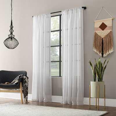 Textured Slub Anti-Dust Striped Semi-Sheer Rod Pocket Curtain Panel - AllModern