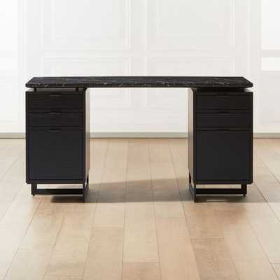Fullerton Modular Black Desk with 2 Black Drawers - CB2