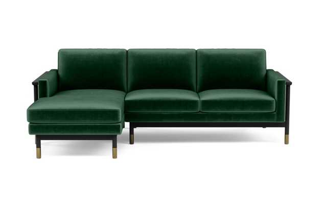 Jason Wu Left Sectional with Green Malachite Fabric and Matte Black with Brass Cap legs - Interior Define
