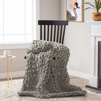 AMERICAN HERITAGE Dove Chenille Chunky Knit Throw - Home Depot