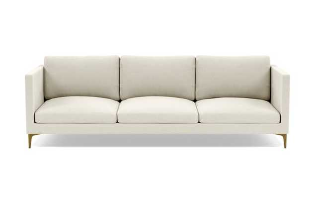 Oliver Sofa with White Chalk Fabric, standard down blend cushions, and Brass Plated legs - Interior Define