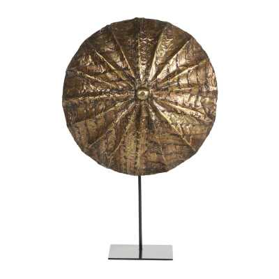 Cole & Grey Small, Round, Hand-Carved Gold Baobab Wood Shield On Metal Display Stand Cameroon - Perigold