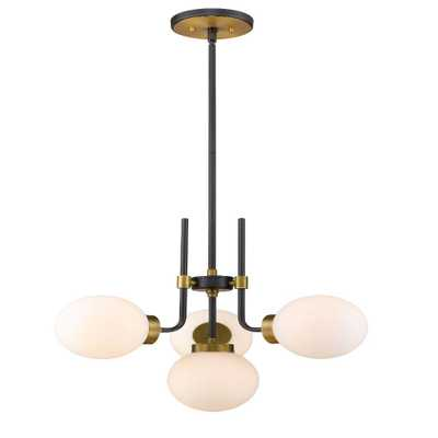 Filament Design 4-Light Matte Black and Olde Brass Chandelier with Opal Glass Shade - Home Depot