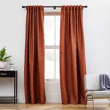 "Honeycomb Jacquard Curtain, Burnt Copper, 48""x96"" - West Elm"