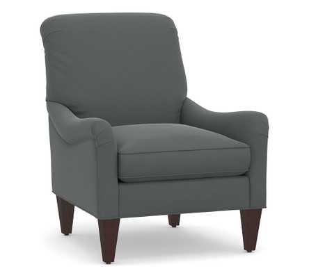 Saylor Upholstered Armchair, Polyester Wrapped Cushions, Performance Plush Velvet Slate - Pottery Barn