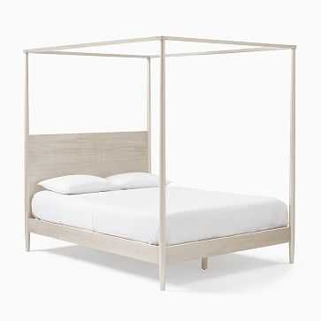 Mid-Century Canopy Bed, King, Pebble - West Elm