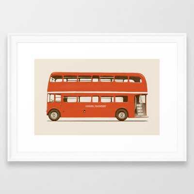 Double-decker London Bus Framed Art Print by Florent Bodart / Speakerine - Scoop White - SMALL-15x21 - Society6
