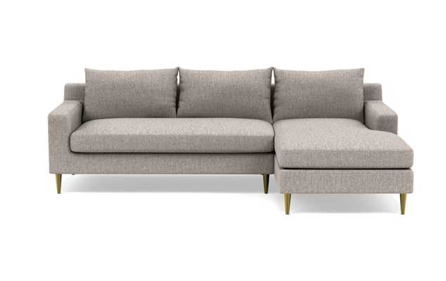 Sloan Right Sectional with Brown Earth Fabric, down alternative cushions, and Brass Plated legs - Interior Define