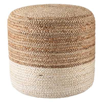 Oliana Ombre White/ Beige Cylinder Pouf - Collective Weavers
