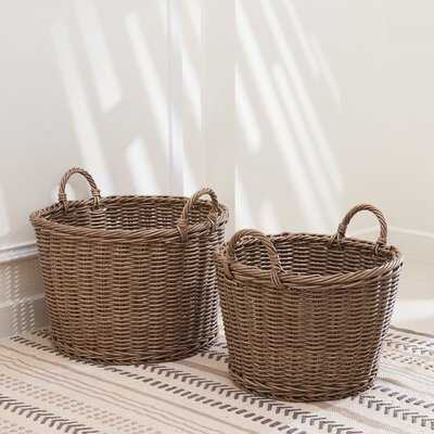 Mila 2 Piece Wicker Basket Set - Wayfair