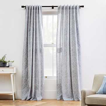 "Woodland Shine Jacquard Curtain, Hazy Blue, 48""x96"" - West Elm"